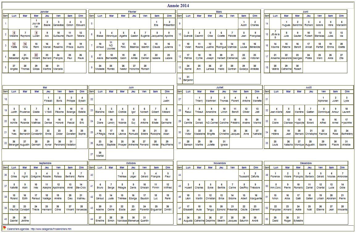 Calendrier 2014 à imprimer, annuel avec les fêtes (nom des saints), format paysage, sous-main ou mural,  blanc