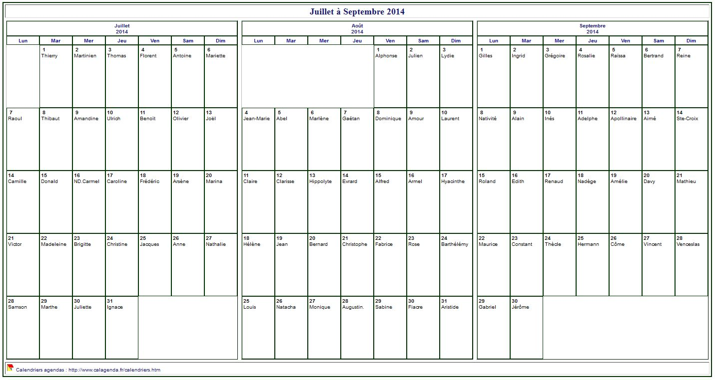 calendrier 2014 imprimer trimestriel format paysage avec les f tes. Black Bedroom Furniture Sets. Home Design Ideas