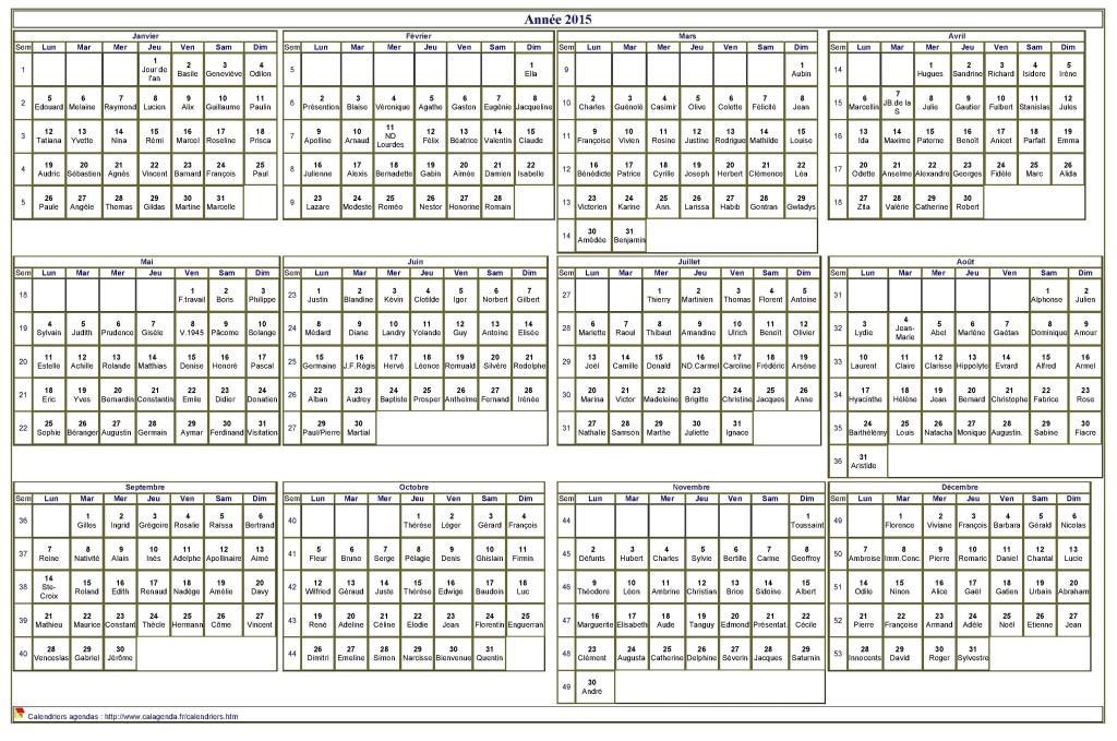 Calendrier 2015 imprimer annuel avec les f tes format for Calendrier mural 2015
