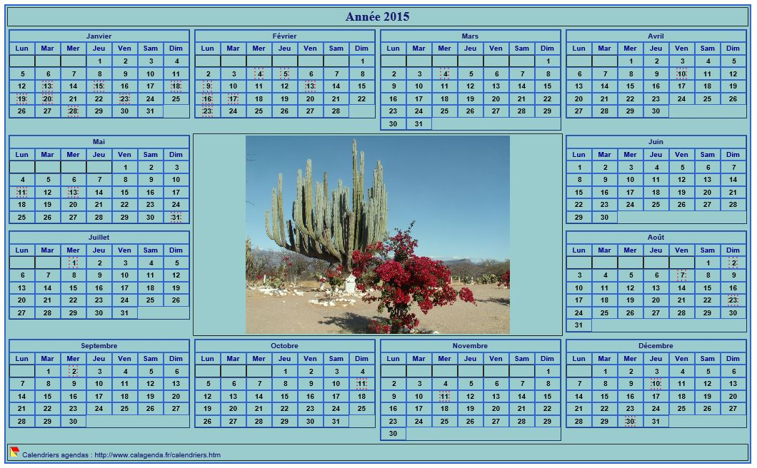 Calendrier 2015 photo annuel imprimer fond cyan format for Calendrier photo mural gratuit