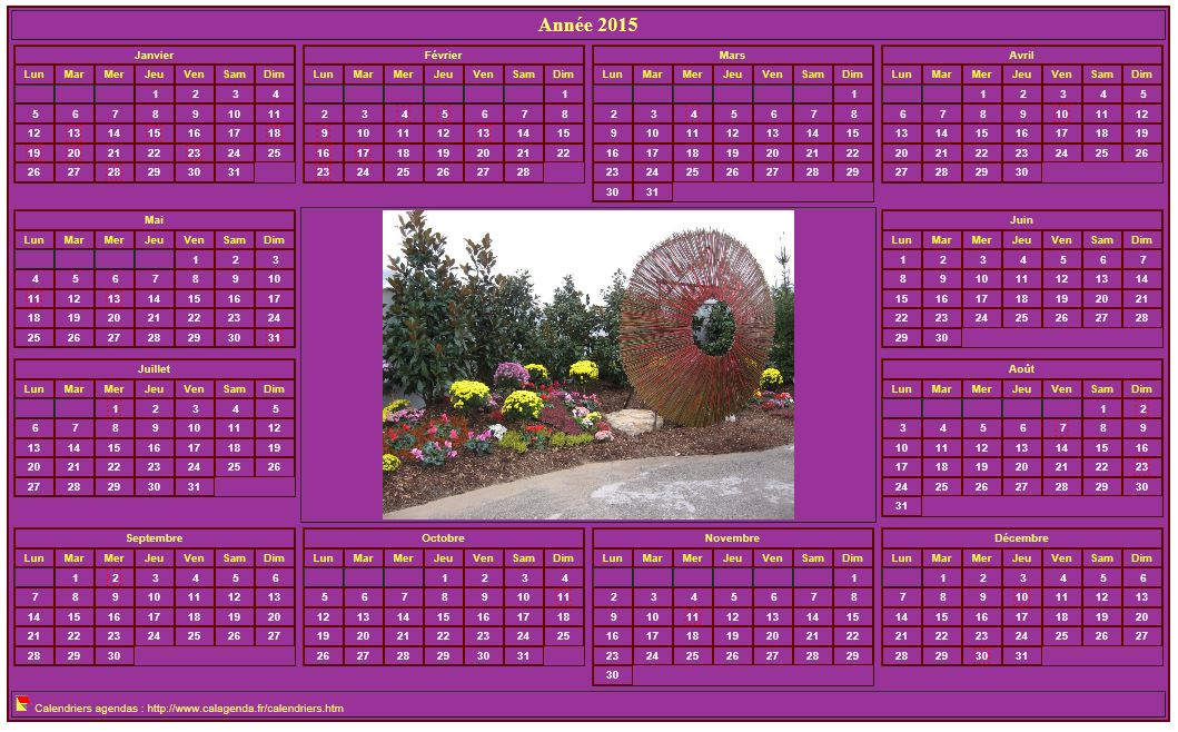 Calendrier 2015 photo annuel imprimer fond rose format for Calendrier mural 2015