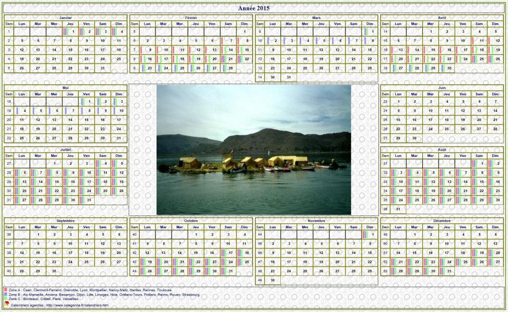 Calendrier 2015annuel avec photo agenda synth tique for Calendrier mural 2015