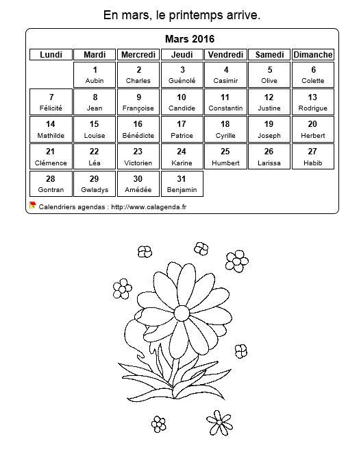 Calendrier 2016 colorier du mois de mars for Calendrier jardin mars 2016
