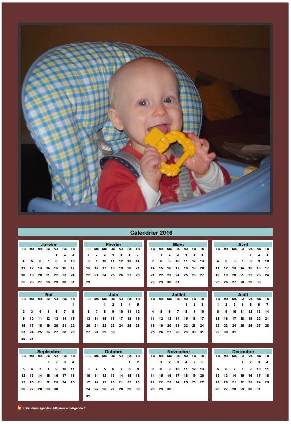 calendrier 2016 annuel imprimer avec photo de famille. Black Bedroom Furniture Sets. Home Design Ideas