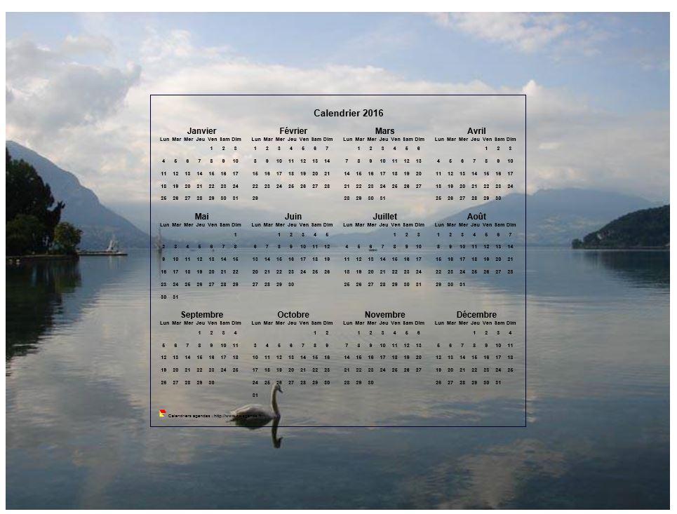 calendrier 2016 annuel  format paysage  quatre colonnes par trois lignes  incrust u00e9 au centre d
