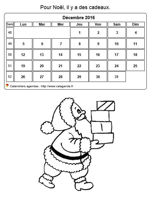Calendrier 2016 à colorier du mois de decembre