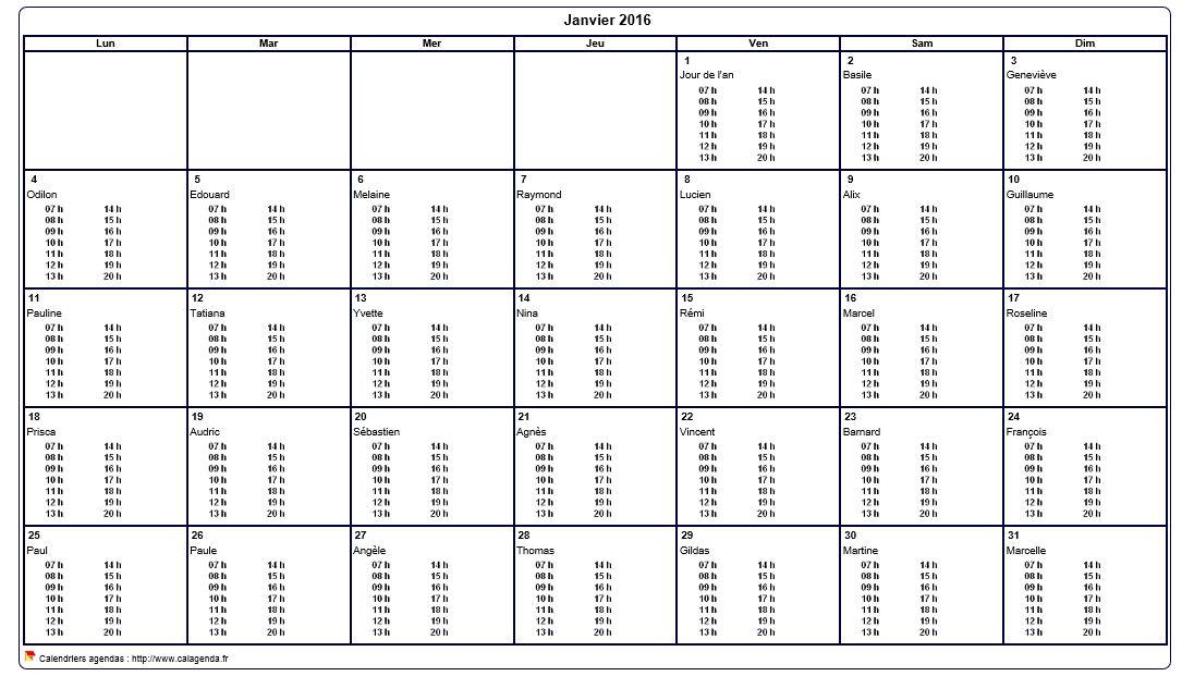 calendrier mensuel 2016 imprimer vierge avec les horaires dans chaque case. Black Bedroom Furniture Sets. Home Design Ideas