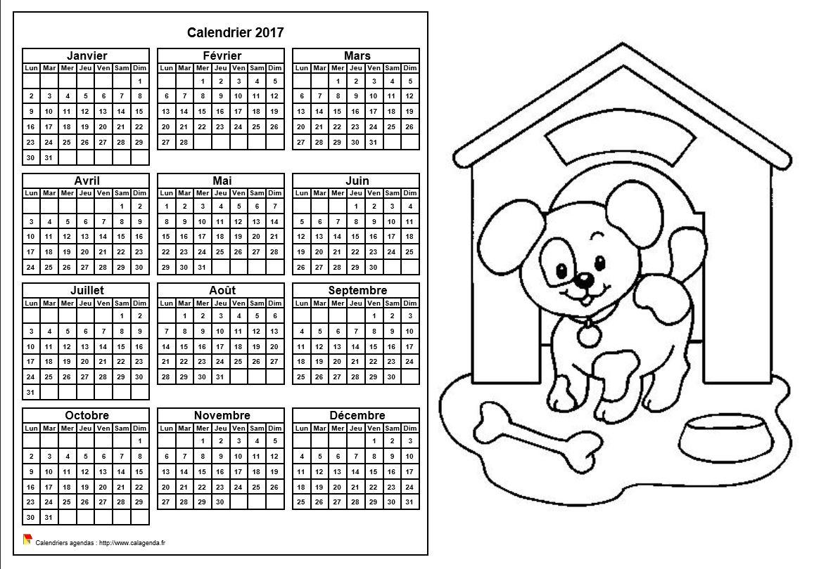 Calendrier 2017 à colorier annuel, format paysage, pour enfants