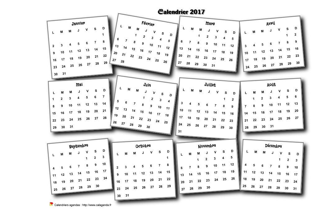Calendrier 2017 annuel 3D pêle mêle