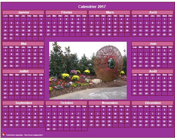 Calendrier 2017 photo annuel imprimer fond rose format for Calendrier photo mural gratuit