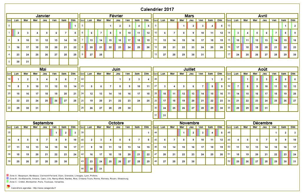 Calendrier 2017 annuel imprimer avec les vacances for Jours de conges pour demenagement
