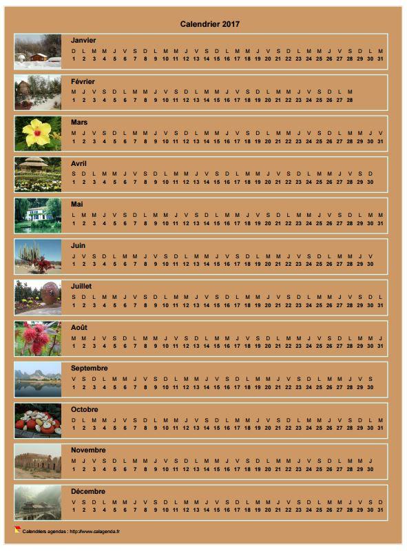 Calendrier 2017 annuel horizontal avec 12 photos