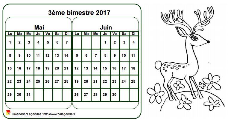 Calendrier 2017 à colorier bimestriel, format paysage, pour enfants
