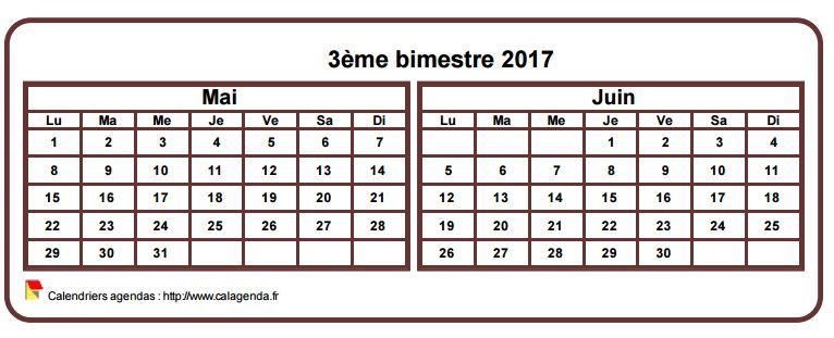 Calendrier 2017 à imprimer bimestriel, format mini de poche, horizontal, fond blanc