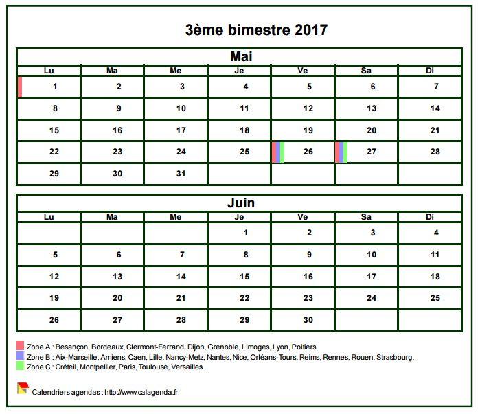 Calendrier 2017 à imprimer bimestriel, format mini de poche, avec les vacances scolaires