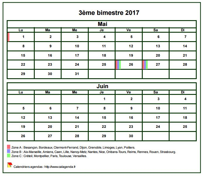 calendrier bi mensuel a imprimer