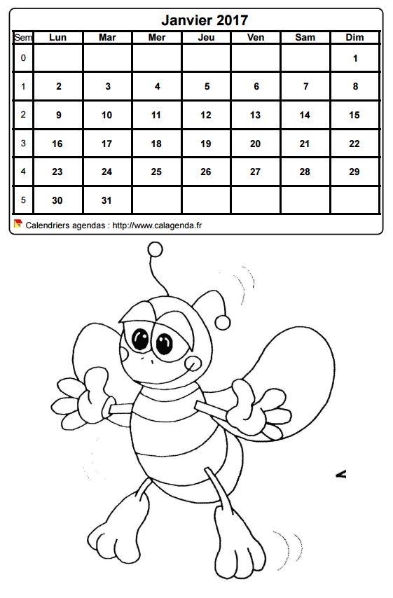 ... 2017 à colorier mensuel vierge, format portrait, pour enfants