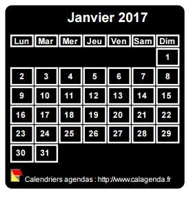 Calendrier mensuel 2017 à imprimer, fond noir, taille mini, format poche, spécial portefeuille