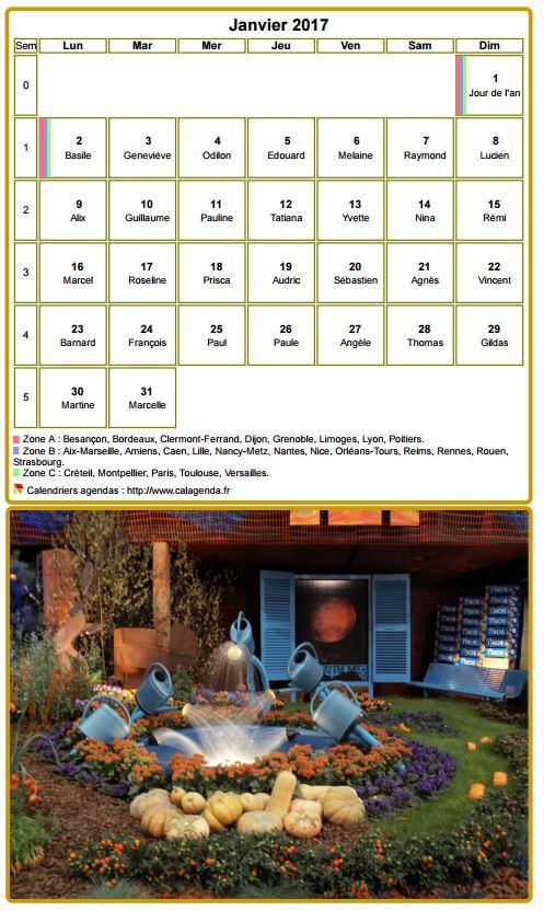 Calendrier mensuel 2017 à imprimer, avec photographie au dessous