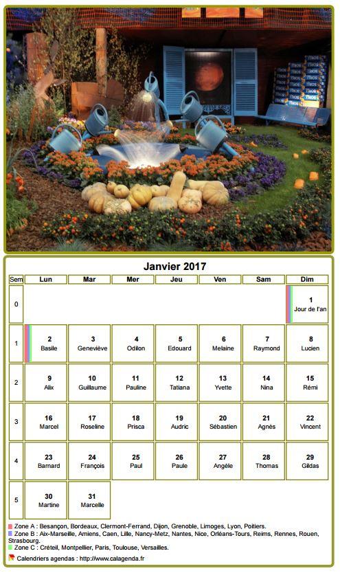 Calendrier 2017 à imprimer, mensuel, avec photographie au dessus