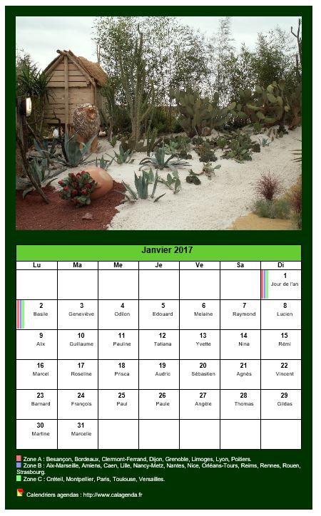 Calendrier mensuel 2017 avec une photo différente chaque mois