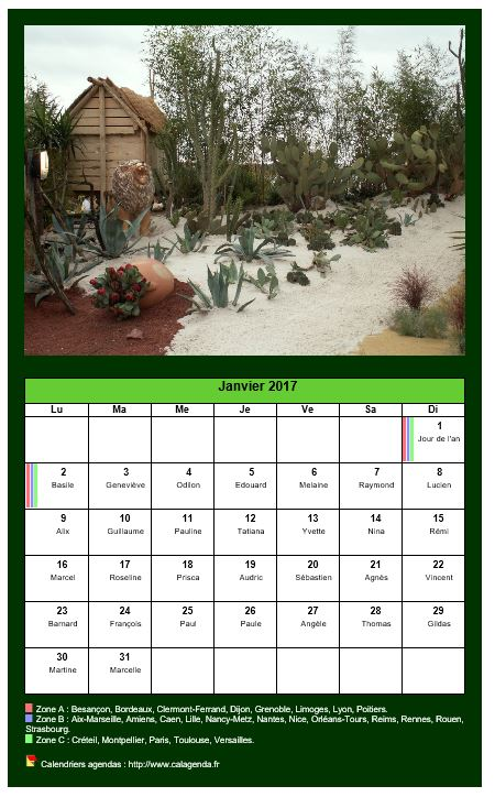 calendrier mensuel 2017 avec une photo diff rente chaque mois. Black Bedroom Furniture Sets. Home Design Ideas