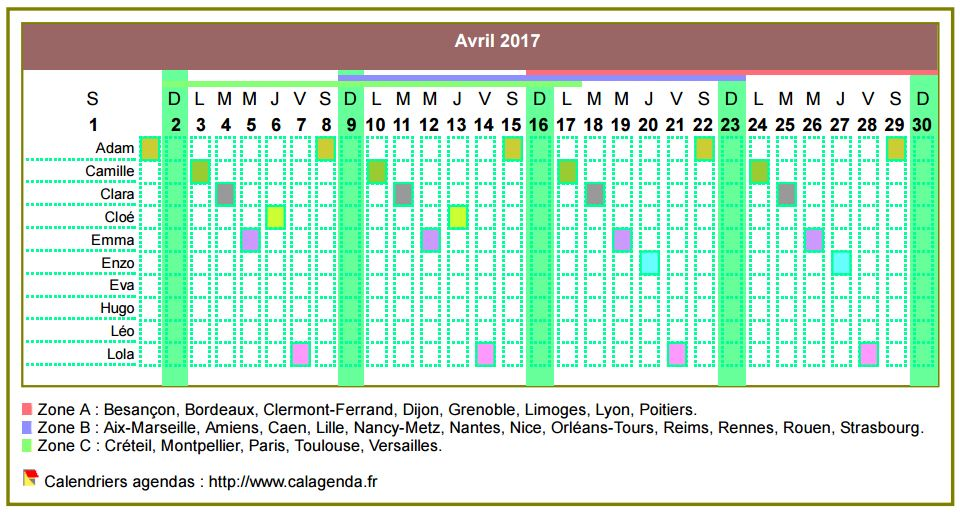 Calendrier 2017 planning horizontal mensuel
