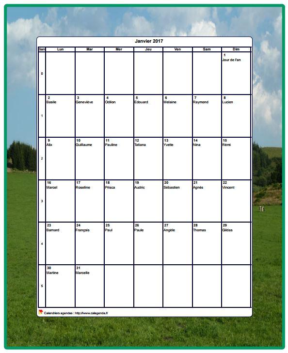 Calendrier 2017 décoratif à imprimer, mensuel , format portrait, avec une photo