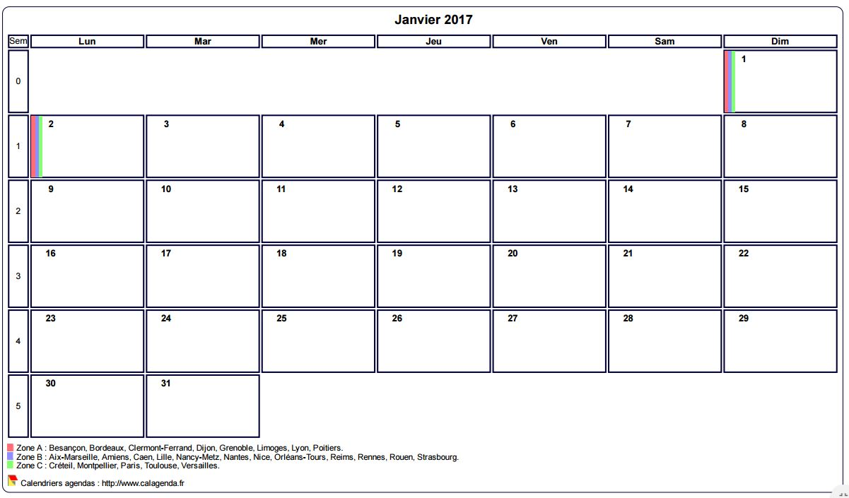 Calendrier janvier 2017 a imprimer gratuit calendrier for Calendrier mural gratuit