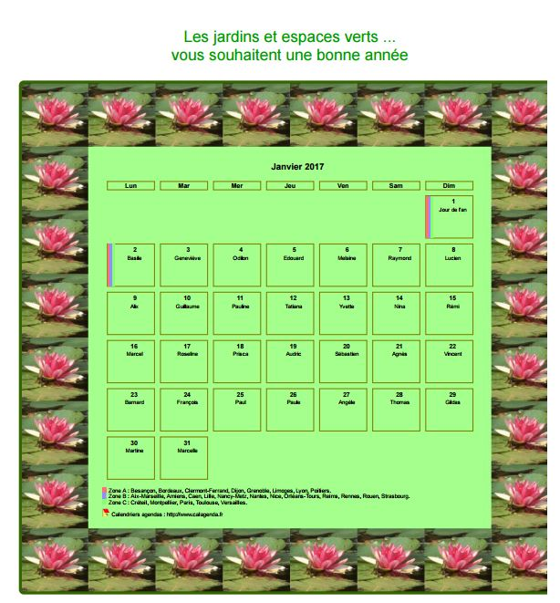 Calendrier 2017 avec vacances scolaires for Les espaces verts pdf