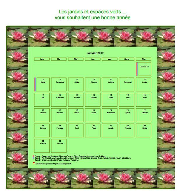 Calendrier 2017 agenda décoratif mensuel, cadre avec motifs nénuphars
