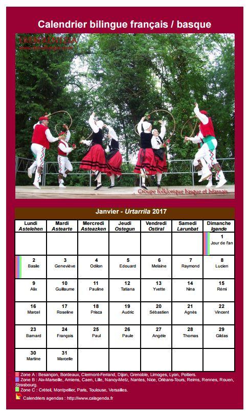 Calendrier mensuel 2017 basque
