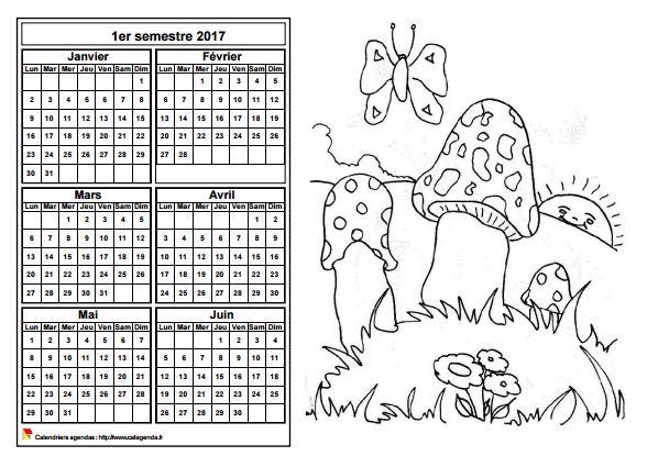 Calendrier 2017 à colorier semestriel, format paysage, pour enfants