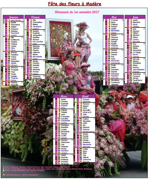 Calendrier 2017 semestriel fête des fleurs à Madère