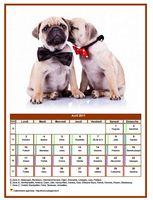 Calendrier d'avril 2017 de la série 'chiens'