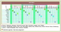 Calendrier 2017 planning horizontal d'avril