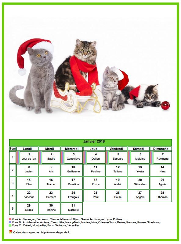 Calendrier janvier 2018 chats