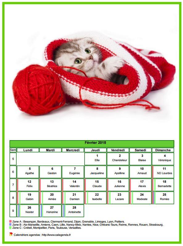 Calendrier février 2018 chats
