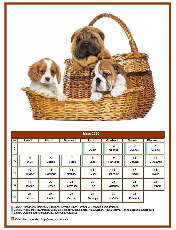 Calendrier mars 2018 chiens