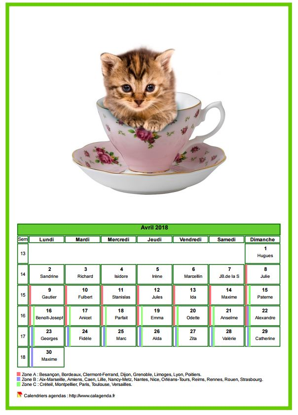 Calendrier avril 2018 chats