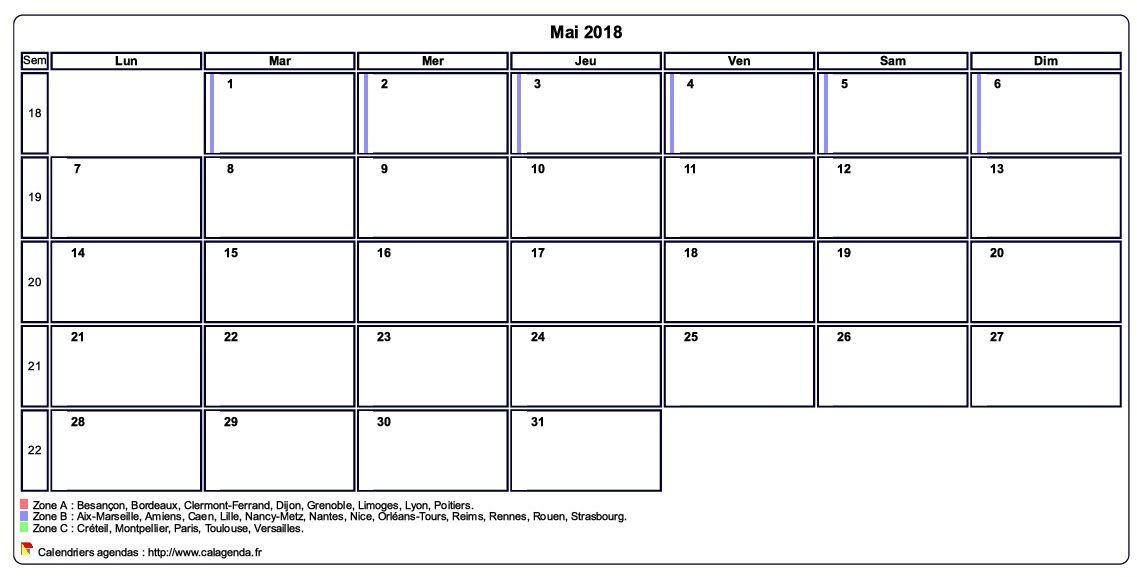 Calendrier mai 2018 personnalisable avec les vacances scolaires