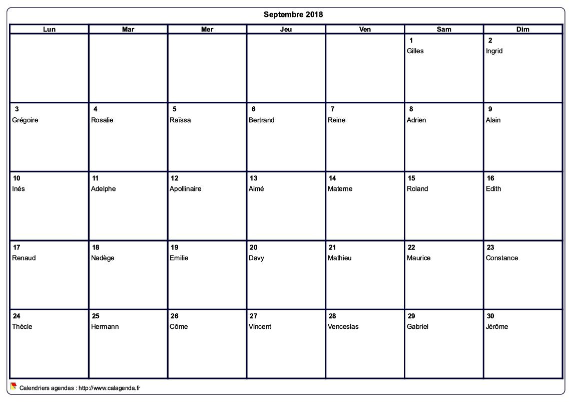 Calendrier Septembre 2018 à Aout 2021 Calendrier septembre 2018 à imprimer vierge, avec les fêtes