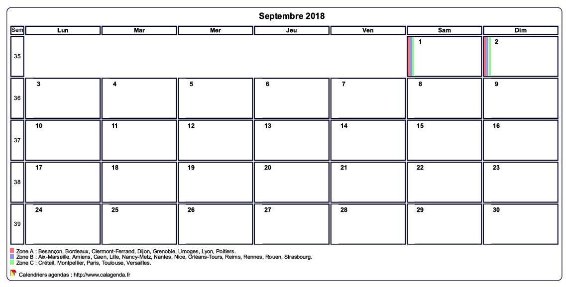 Calendrier septembre 2018 personnalisable avec les vacances scolaires