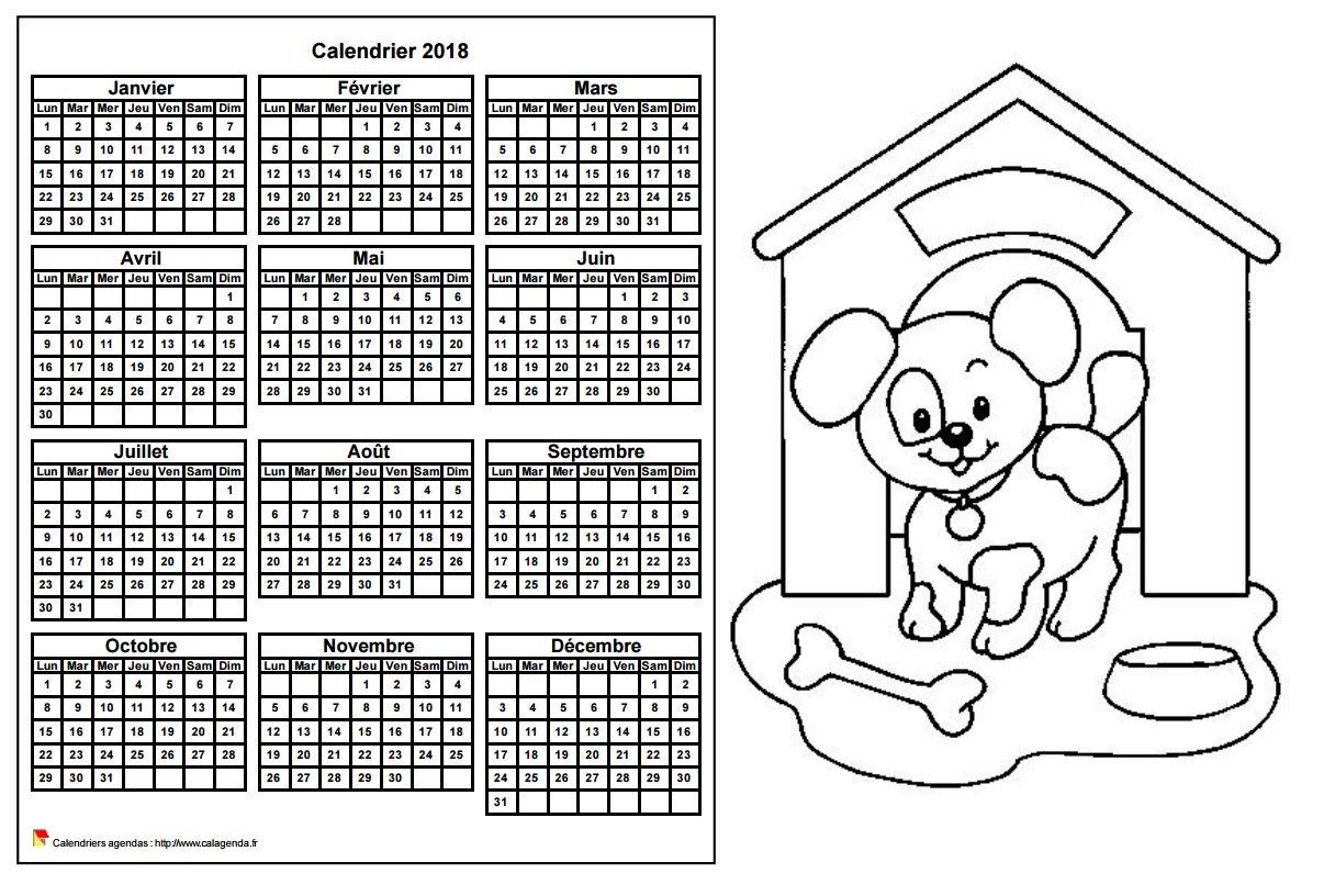 Calendrier 2018 à colorier annuel, format paysage, pour enfants