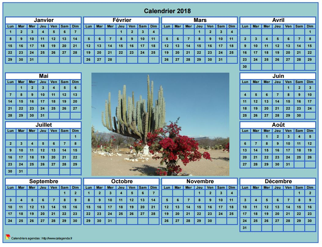 Calendrier 2018 photo annuel imprimer fond cyan format for Ecran photo 2018