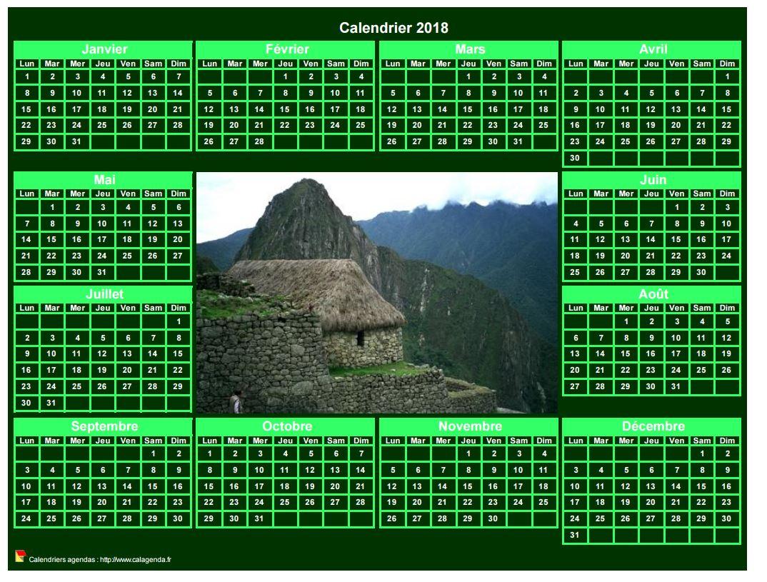 Calendrier 2018 photo annuel à imprimer, fond vert, format paysage