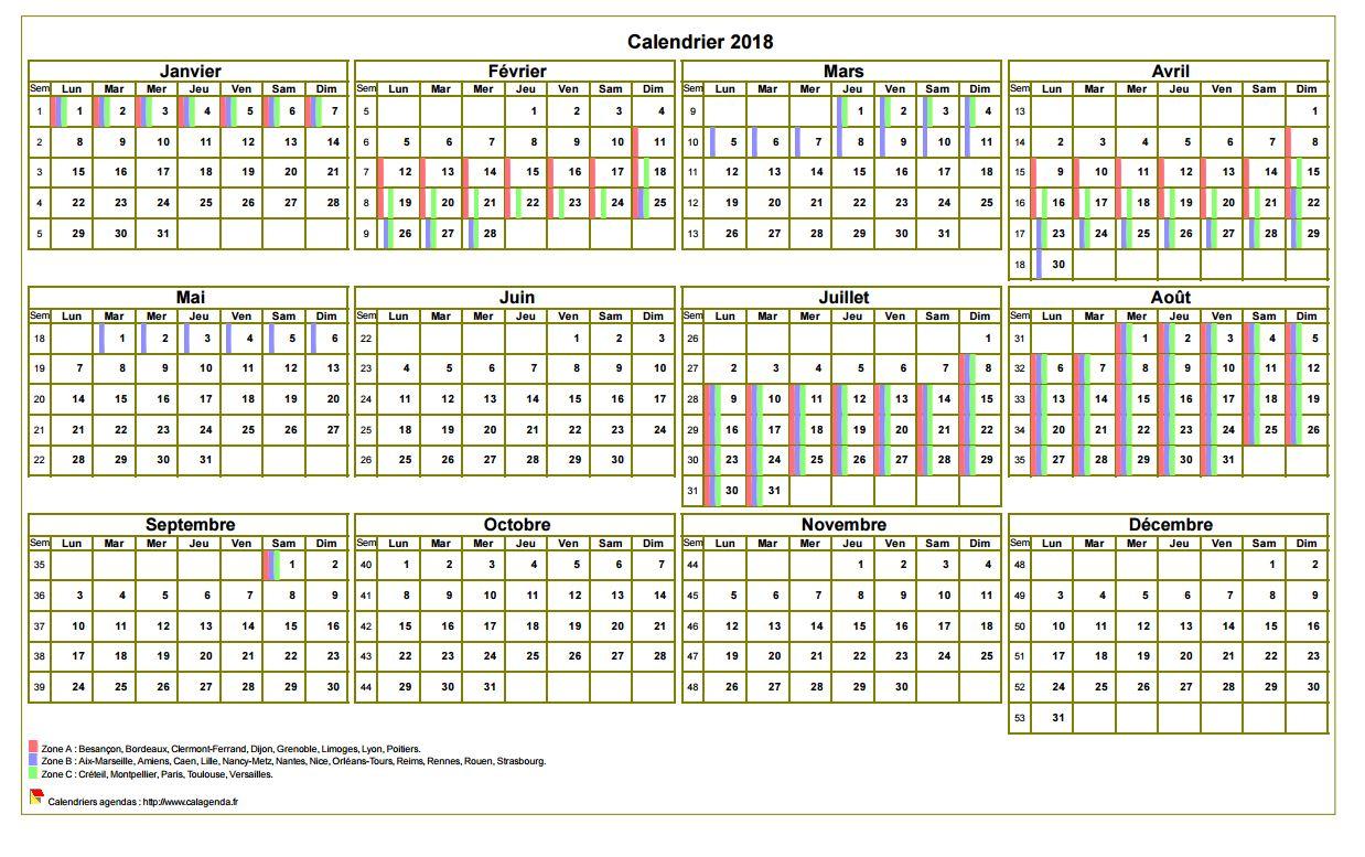 calendrier 2018 avec vacances a imprimer