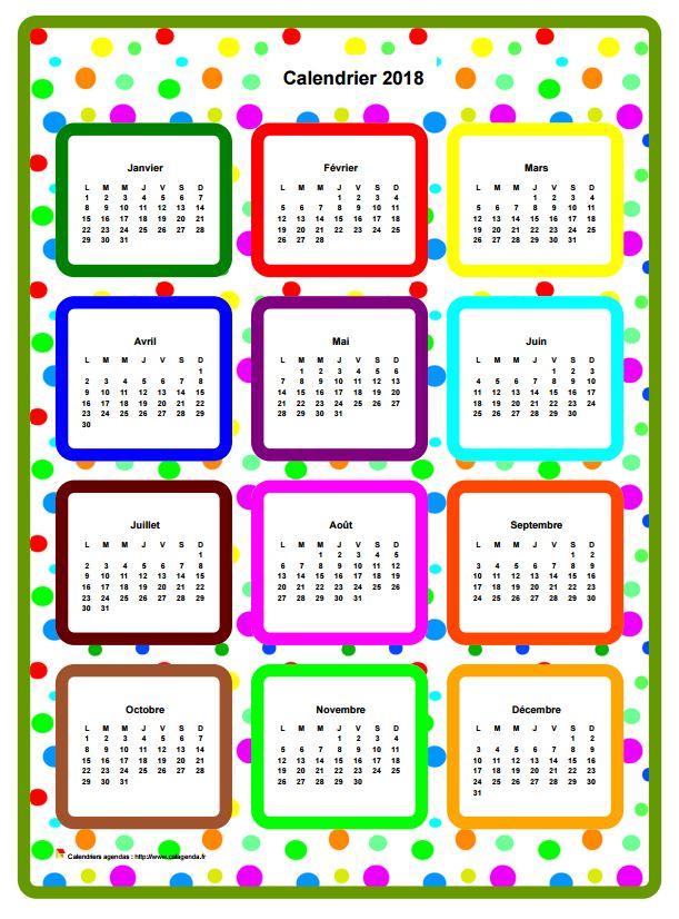 Calendrier 2018 annuel en couleurs
