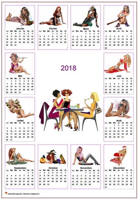 Calendrier 2018 annuel tubes femmes