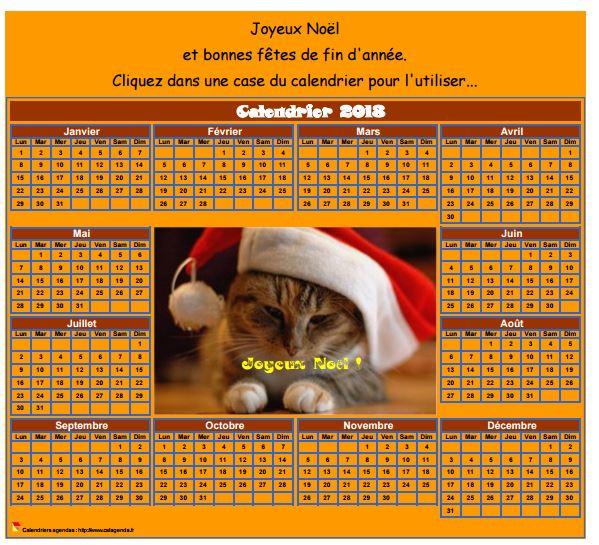 Calendrier 2018 spécial fêtes